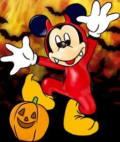 ディズニー ハロウィンのイラスト画像☆牙がかわいい悪魔ミッキー♪