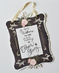 custom welcome wedding signs...imagine it with a white frame and chalkboard inside.