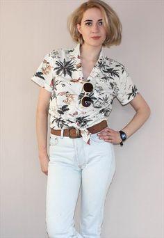 Vintage+90's+Palm+Printl+Hawaiian++Shirt