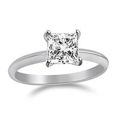 1.30 Ct Princess Cut Solitaire Engagement Wedding Ring Real Solid 14K White Gold by JewelryHub on Opensky