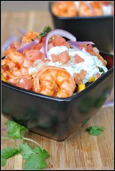 Chipotle Shrimp Bowls with Cilantro-Lime Cream Sauce