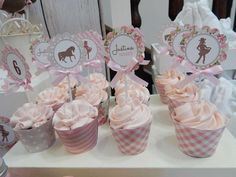 Cowgirl birthday party cupcakes! See more party planning ideas at CatchMyParty.com!