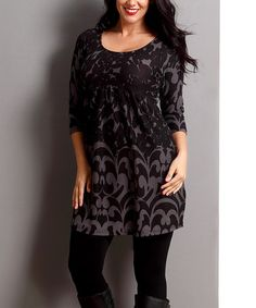 Another great find on #zulily! Charcoal Floral Empire-Waist Tunic - Plus #zulilyfinds