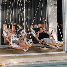 27 Patio Pergola with swing beds and outdoor kitchen - josh-hutcherson Backyard Hammock, Hammock Swing, Hanging Hammock, Hanging Chairs, Room Hammock, Swing Beds, Diy Hanging, Outdoor Hammock Chair, Hanging Beds