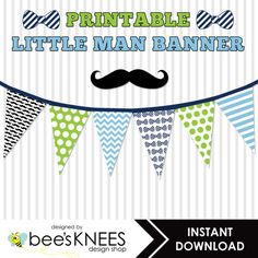 Printable Bunting Banner Little Man Mustache. Perfect for baby showers or 1st birthday parties! Instant download only $5