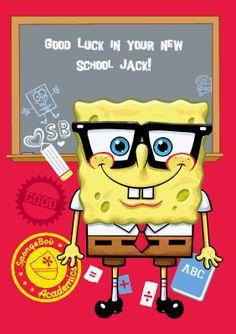 Let #Spongebob say #goodluck in the #newschool! #firstdayofschool