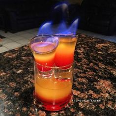 DOUBLE HEADED DRAGON Shooters: Pineapple Juice Grenadine Bacardi 151 Glass: Pineapple Juice Grenadine Bacardi 151 Instagram Photo Credit: @louthebartender Post your original recipe and photo on Instagram using #TipsyBartender and we will repost th