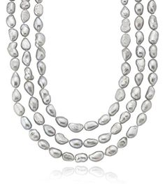 """Freshwater Cultured Baroque Silver Gray Pearl Endless Necklace (10-11mm) 64"""" >>> ADDITIONAL INFO @ http://www.finejewelry4u.com/store/freshwater-cultured-baroque-silver-gray-pearl-endless-necklace-10-11mm-64/?a=2673"""