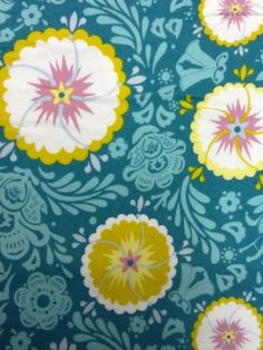fiesta  peacock blue with red fabric by the yard | anna marie horner floral flannel cotton fabric quilting fabric cs327