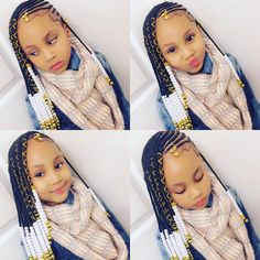A selection of 50 kids braids with beads hairstyles to get your kids holiday ready. From kids braided updos with beads, to single braids with beads. Black Kids Hairstyles, Baby Girl Hairstyles, Kids Braided Hairstyles, African Braids Hairstyles, Curly Hairstyles, Hairstyles Videos, Crochet Braids Hairstyles For Kids, Childrens Hairstyles, Toddler Hairstyles