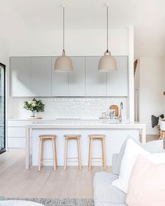 Dreamy kitchen completed by Texture handmade square feature tiles used for the stunning splashback. Kitchen Interior, New Kitchen, Kitchen Decor, Kitchen Design, Kitchen Splashback Tiles, Feature Tiles, Cuisines Design, Home Kitchens, House Design