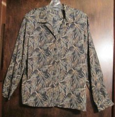 Womans Top Size Large Elementz Shades of Brown Tropical Leaves Design #Elementz #Blouse #Career