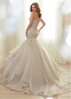 Buy discount Stunning Tulle & Organza Satin Sweetheart Neckline Mermaid Wedding Dresses With Beaded Lace Appliques at Magbridal.com