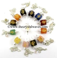 Mix Gemstones Om Engraved Hexagonal Pendulum