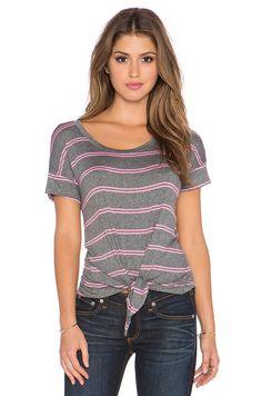 Splendid Canvas Double Stripe Tie Front Top in Heather Grey & Neon Pink