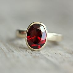 Red Garnet and 14k Yellow Gold Ring by onegarnetgirl on Etsy, $610.00