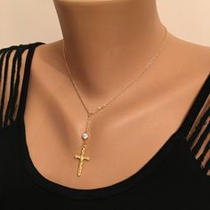 A personal favorite from my Etsy shop https://www.etsy.com/listing/521527682/gold-plated-cross-necklace-patriotic