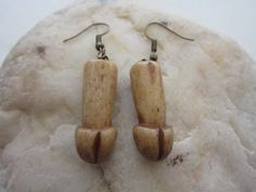 Buffalo Bone Carved Penis Earrings Dangle Jewelry Tribal Boho by rainbownativetraders on Etsy Tooth And Claw, Animal Bones, Black Rock, Animal Jewelry, Burning Man, Statement Jewelry, Buffalo, Dangle Earrings, Dangles