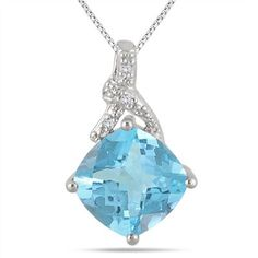4.55 Carat Cushion Cut Blue Topaz and Diamond Pendant in .925 Sterling Silver