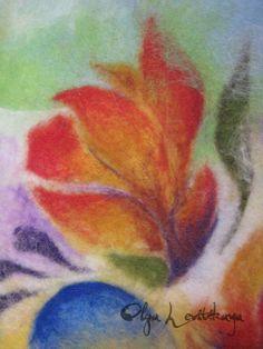 Felted wool painting Banana Paradise, fragment - by Olga Levitskaya.