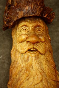 Special wood carving of a Tree Spirit wood by TreeWizWoodCarvings