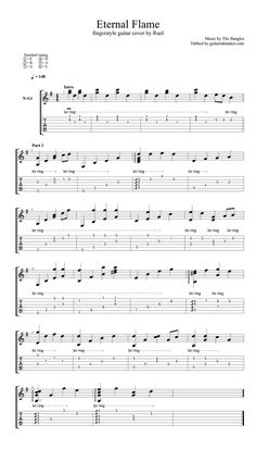 The Bangles - Eternal Flame fingerstyle guitar TAB - fingerstyle guitar cover - acoustic guitar music - Guitar Pro TAB Guitar Tabs Acoustic, Guitar Strumming, Easy Guitar Songs, Guitar Chords For Songs, Fingerstyle Guitar, Ukulele Tabs, Lyrics And Chords, Music Theory Guitar, Guitar Sheet Music