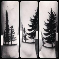 Super Black And White Landscape Tattoo Beautiful Ideas Half Sleeve Tattoos Trees, Leg Tattoos, Arm Tattoo, Tatoos, Unique Tattoos, Beautiful Tattoos, Cool Tattoos, Beautiful Body, Forest Tattoos