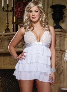 82290be9079 Plus Size White Layered Babydoll and Thong - Plus size