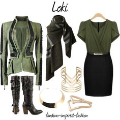 Based on #Loki from the #Avengers. #Green and #black dress, under a #denim and #leather jacket. #Knee-#high #boots and plaid #scarf. #Gold jewelry includes a ne...