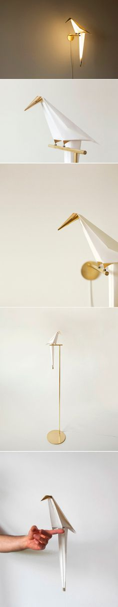 folded paper and brass lamp | Perch Light, by Umut Yamac