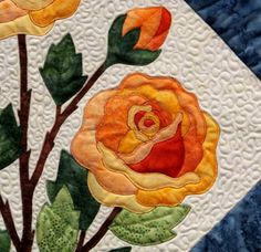 Would look good done in red for doses. pattern for applique rose quilt block Applique Quilt Patterns, Rose Applique, Hand Applique, Embroidery Applique, Colchas Quilt, Cat Quilt, Quilt Blocks, Flower Quilts, Landscape Quilts