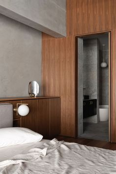 King sees David Barr Architects utilise a restrained and nuanced palette to create luxurious three-bedroom apartment insertion into existing brick building. Bauhaus, Interior Architecture, Interior Design, Building Architecture, Hotel Room Design, Perth, Hotel Interiors, Home Bedroom, Bedrooms