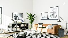 Industrial Living Room Design: 14 Ways to Get the Loft Look White Industrial, Industrial Living, Industrial Style, Orange Leather Sofas, Tufted Leather Sofa, Color Schemes Design, Cowhide Pillows, Black And White Pillows, Large Sideboard