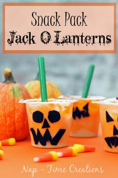 Snack Pack Jack O Lanterns are adorable! #SnackPackMixins #shop