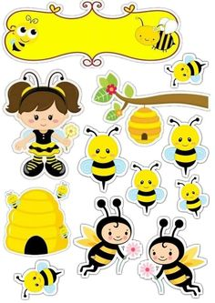 Abelhinha Topper Bee Illustration, Homemade Stickers, Bee Movie, Bee Party, Bee Crafts, Bee Theme, Cute Stickers, Diy For Kids, Creations