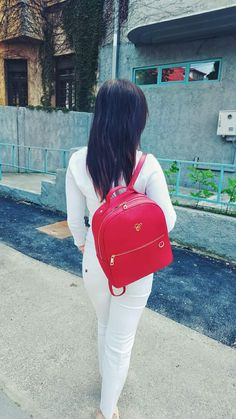 Red leather backpack Custom made bags