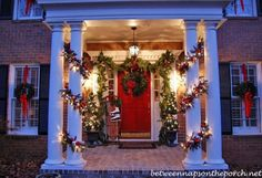 """I decorated with 3 wreaths this year...a """"Grandinroad"""" Knock-off.    You can view the full porch post and see the Grandinroad Knock-off here: A Christmas Porch, 2011"""