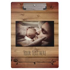 Add your photo rustic wood texture clipboard - barn wedding gifts template diy customize personalize marriage