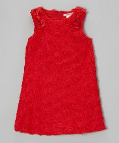 Take a look at this Red Rosette Yoke Dress - Toddler & Girls by Paulinie on #zulily today!