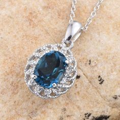 London Blue Topaz and Cambodian Zircon Platinum Over Sterling Silver Pendant with Stainless Steel Chain