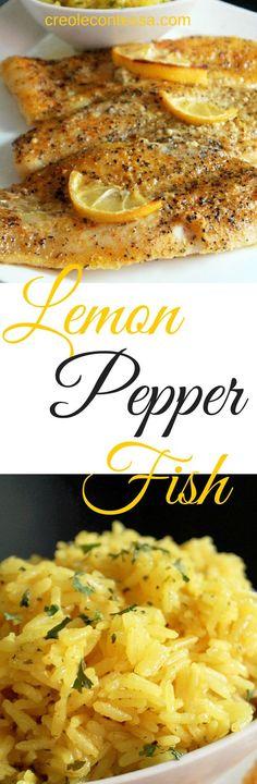Lemon Pepper Fish with Lemon Butter Rice-Creole Contessa