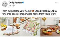 Dolly Parton, Shopping Sites, Hobby Lobby, Kitchenware, Dolly Patron, Kitchen Gadgets, Kitchen Utensils