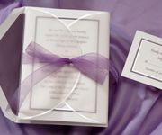 T9824WR  price per 100: $349.90  This lovely pearl perfection wrap and passion colored ribbon are included in the price. The passion colored border invitation is soft and delicate.