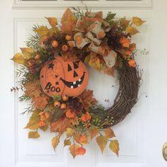 AUTUMN WREATHS-Halloween Wreath-Fall Wreath-Fall Decor-Pumpkin…