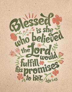 Luke 1:45 Bible Verse Floral Typography Print 8 x by InkLaneDesign