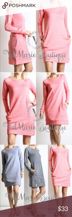 "Sweatshirt Dress with Pockets - Coral STUNNING FRENCH TERRY RAGLAN SLEEVE SWEATSHIRT DRESS TOTAL LENGTH: 34"" for small, 34.5"" Med, 35"" large 70% COTTON, 30% POLYESTER - cold water wash, lay flat to dry. S(2-4) M(6-8) L(10-12) - price firm unless bundled. Others selling for $45, get them here for less! I have other colors in stock. Check other listings to see. ValMarie Boutique Dresses"