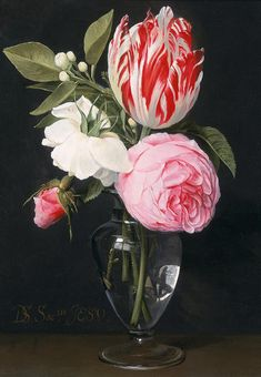 Daniel Seghers. Bouquet of roses and tulips in a glass vase standing on a table.