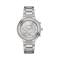 Caravelle New York by Bulova Women's Chronograph Rose Gold-Tone Stainless Steel Bracelet Watch - Size: Ladies, Gold Stainless Steel Watch, Stainless Steel Bracelet, Swarovski, Ladies Dress Watches, Brand Name Watches, Bulova Watches, New York, Purple Leather, Casual Watches