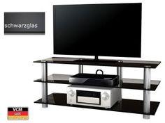 VCM TV-Glasmöbel Jumba Schwarzglas
