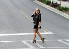 Street Style Outfit. Leather jacket outfit. Ankle boot heels outfit.